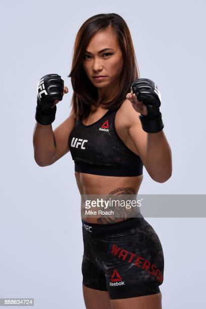 Michelle Waterson poses for a portrait during a UFC photo session on November 29 2017 in Detroit Michigan