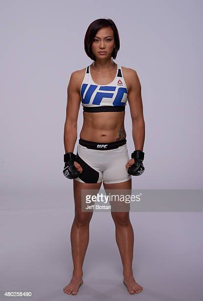 Michelle Waterson poses for a portrait during a UFC photo session inside the MGM Grand Garden Arena on July 9 2015 in Las Vegas Nevada