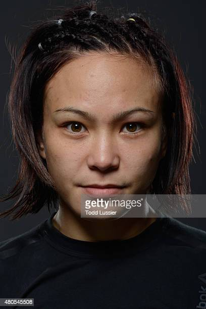 Michelle Waterson poses for portraits after her fight against Angela Magana during the Ultimate Fighter Finale inside MGM Grand Garden Arena on July...