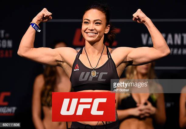 Michelle Waterson poses on the scale during the UFC Fight Night weighin inside the Golden 1 Center Arena on December 16 2016 in Sacramento California