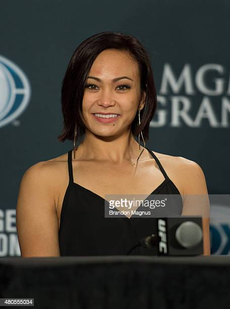 Michelle Waterson speaks to the media during the Ultimate Fighter Finale post fight press conference inside MGM Grand Hotel Casino on July 12 2015 in...