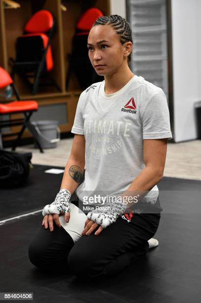 Michelle Waterson warms up backstage during the UFC 218 event inside Little Caesars Arena on December 02 2017 in Detroit Michigan