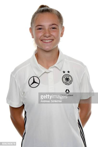 Michelle Weiss poses during Germany U17 Girl's Team Presentation on August 20 2017 in Gruenberg Germany