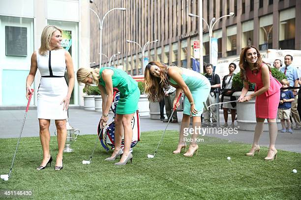 Michelle Wie 2014 US Women's Open Golf Champion with hosts Heather Nauert Elisabeth Hasselbeck and Maria Molina play golf at 'FOX And Friends' at FOX...