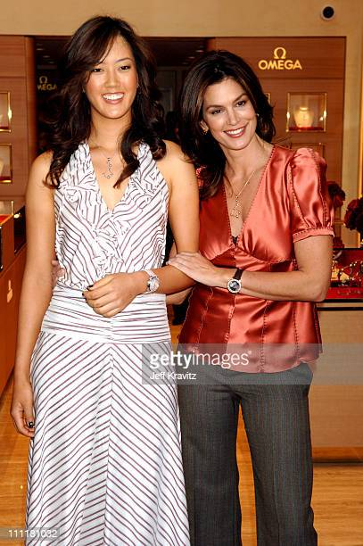 Michelle Wie and Cindy Crawford during Omega Watches Welcomes Michelle Wie March 23 2006 at Omega Flagship Boutique in Beverly Hills California...