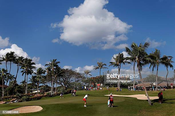 Michelle Wie chips onto the 18th green during the first round of the LPGA LOTTE Championship Presented By Hershey at Ko Olina Golf Club on April 13...