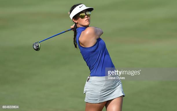 Michelle Wie hits her approach on the 15th hole during the the second round of the Bank Of Hope Founders Cup at Wildfire Golf Club at the JW Marriott...