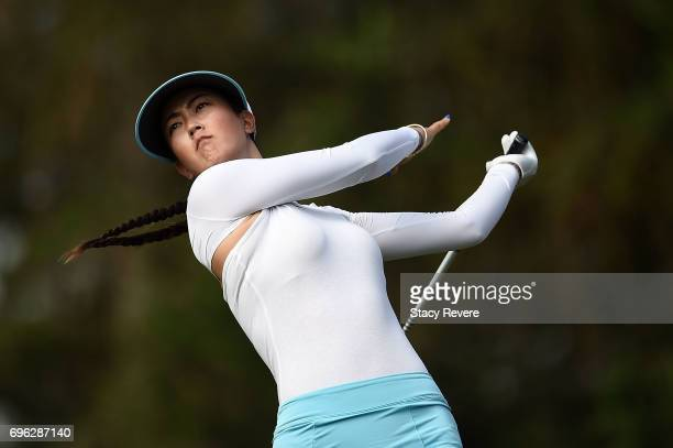 Michelle Wie hits her tee shot on the 15th hole during the first round of the Meijer LPGA Classic at Blythefield Country Club on June 15 2017 in...