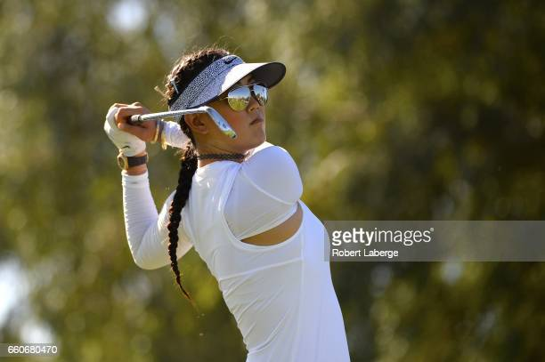 Michelle Wie makes a tee shot on the fifth hole during round one of the ANA Inspiration on the Dinah Shore Tournament Course at Mission Hills Country...