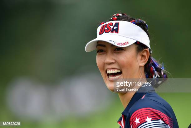 Michelle Wie of Team USA laughs during practice for The Solheim Cup at the Des Moines Country Club on August 16 2017 in West Des Moines Iowa
