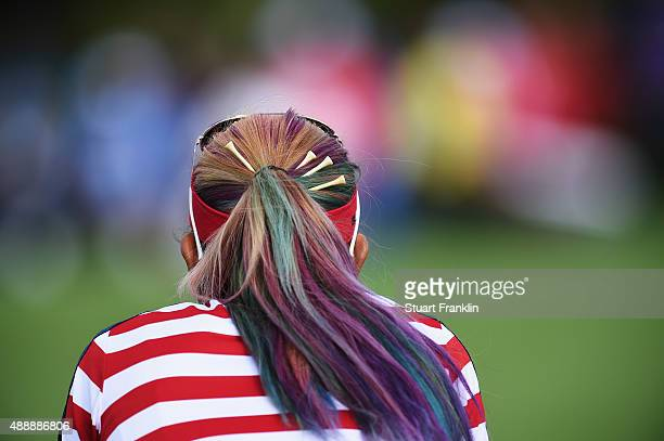 Michelle Wie of team USA lines up a putt during the morning foursomes The Solheim Cup at St LeonRot Golf Club on September 18 2015 in St LeonRot...
