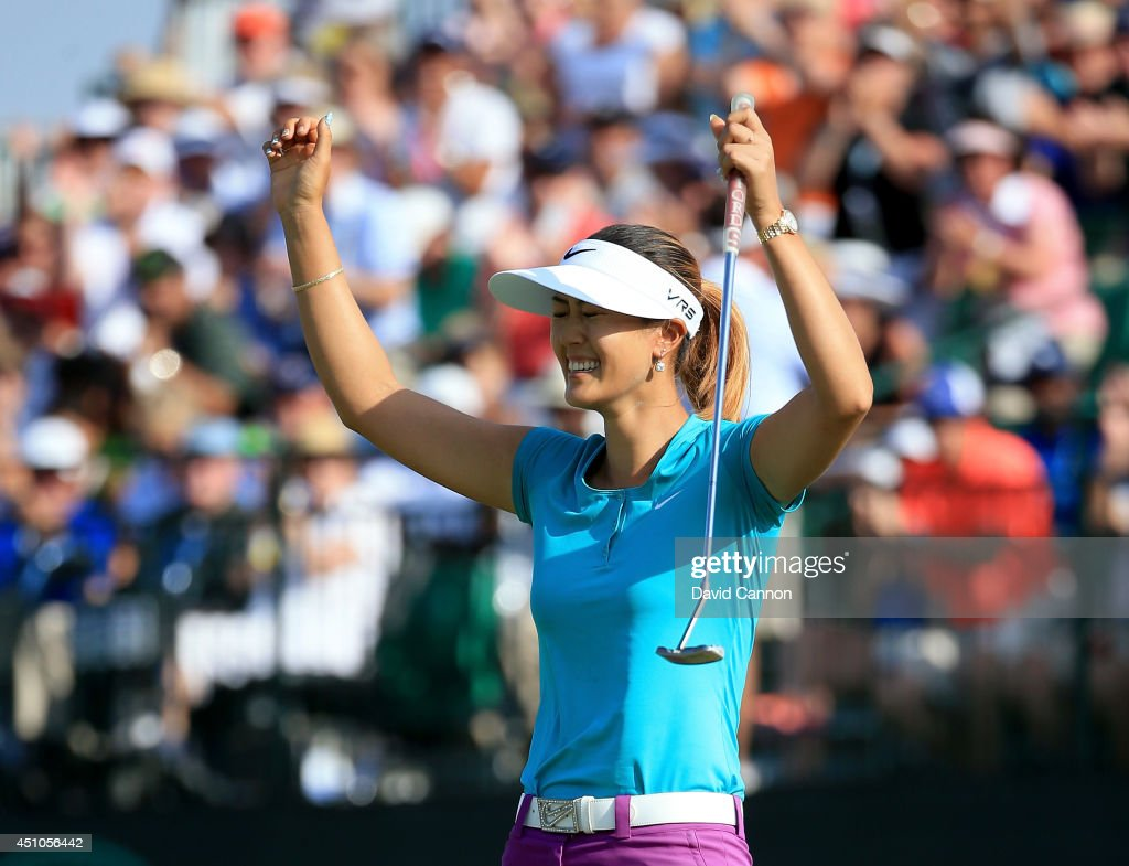 Michelle Wie of the United States celebrates her two shot victory during the final round of the 69th US Women's Open at Pinehurst Resort Country Club...