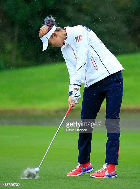 Michelle Wie of the United States in action during final practice for the 2015 Solheim Cup Match at St LeonRot Golf Club on September 17 2015 in...