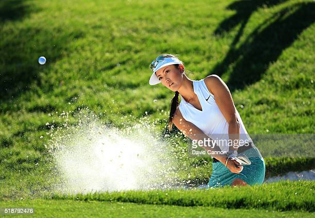 Michelle Wie of the United States plays her second shot at the par 3 17th hole during the third round of the 2016 ANA Inspiration at the Mission...