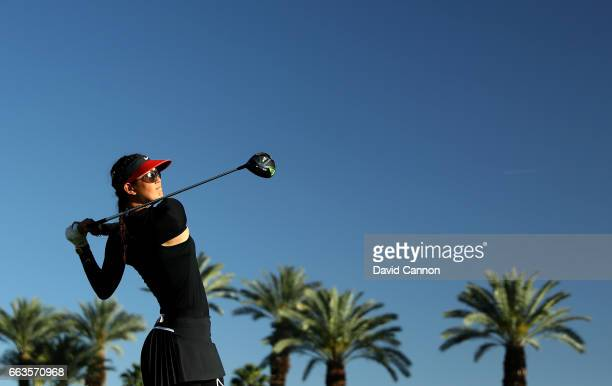 Michelle Wie of the United States plays her tee shot on the par 4 16th hole during the third round of the 2017 ANA Inspiration held on the Dinah...