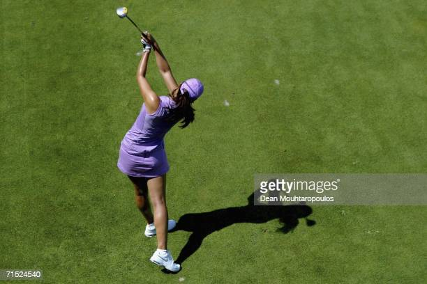 Michelle Wie of the United States tees off from the 6th hole during the second round of the Evian Masters on July 27 2006 in Evian France