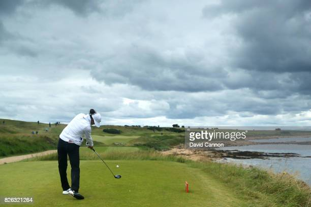 Michelle Wie of the United States tees off on the 2nd hole during the second round of the Ricoh Women's British Open at Kingsbarns Golf Links on...