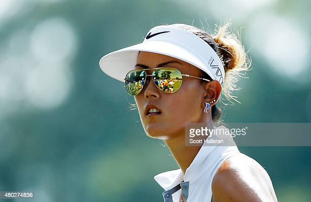 Michelle Wie of the United States waits on the first hole during the second round of the US Women's Open at Lancaster Country Club on July 10 2015 in...