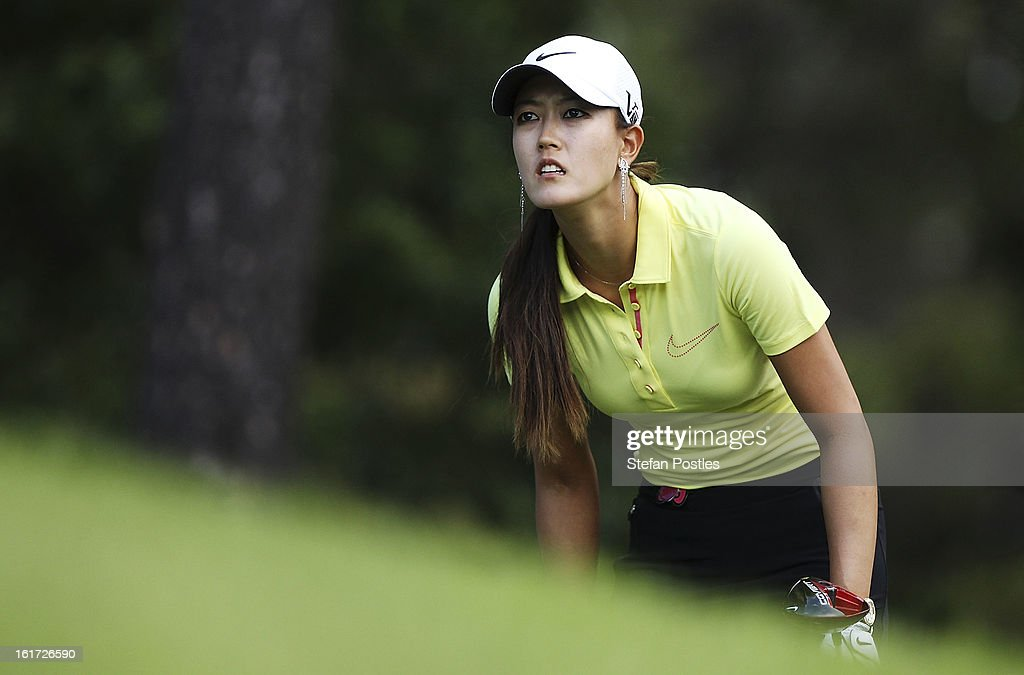 Michelle Wie of the United States watches her ball during day two of the ISPS Handa Australian Open at Royal Canberra Golf Club on February 15, 2013 in Canberra, Australia.