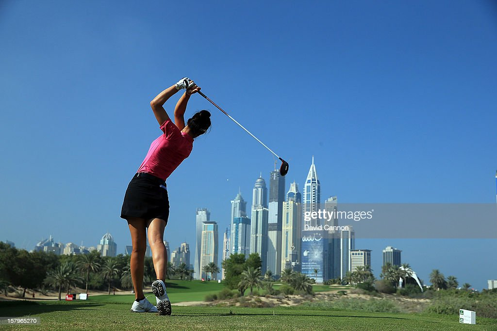 Michelle Wie of the USA drives from the eighth tee during the final round of the 2012 Omega Dubai Ladies Masters on the Majilis Course at the Emirates Golf Club on December 8, 2012 in Dubai, United Arab Emirates.