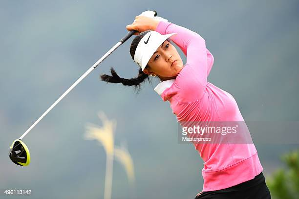 michelle wie of the usa hits her tee shot on the 12th hole during the second