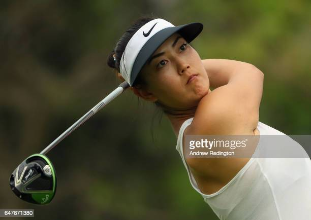 Michelle Wie of the USA hits her teeshot on the fifth hole during the third round of the HSBC Women's Champions on the Tanjong Course at Sentosa Golf...