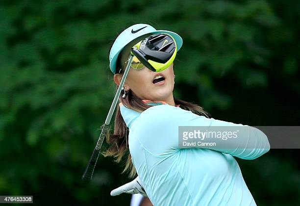 Michelle Wie of the USA lets go of her driver on the second tee during the proam as a preview for the 2015 KPMG Women's PGA Championship on the West...