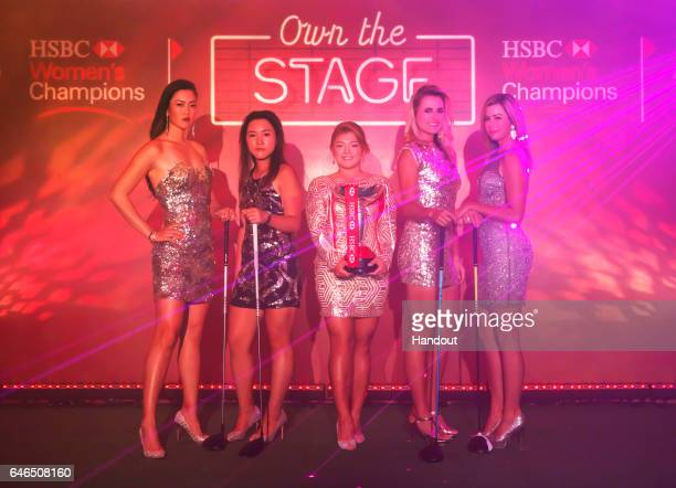 R Michelle Wie of the USA Lydia Ko of New Zealand Ha Na Jang of Korea Lexi Thompson of the USA and Paula Creamer of the USA pose during a photo call...