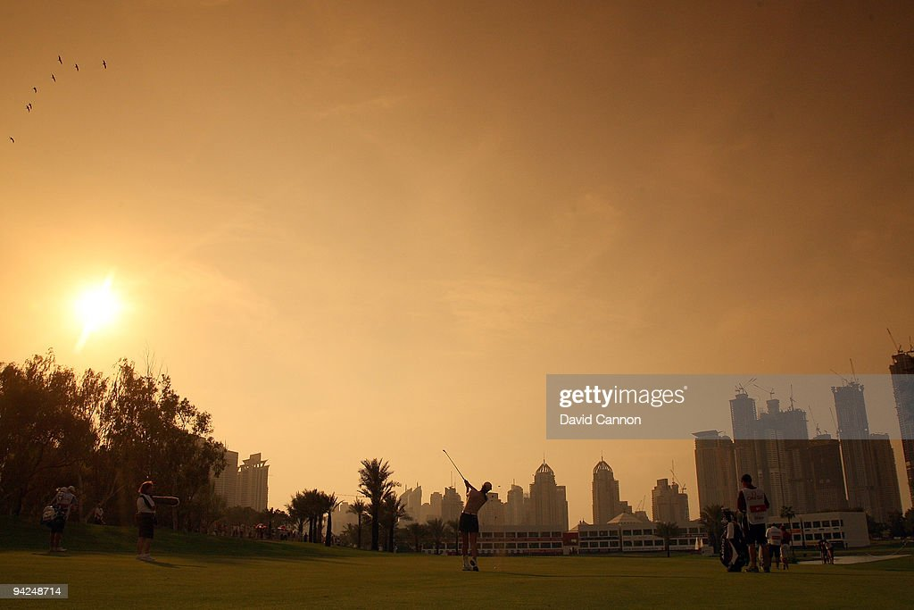 Michelle Wie of the USA plays her second shot at the 18th hole during the second round of the Dubai Ladies Masters on the Majilis Course at the...