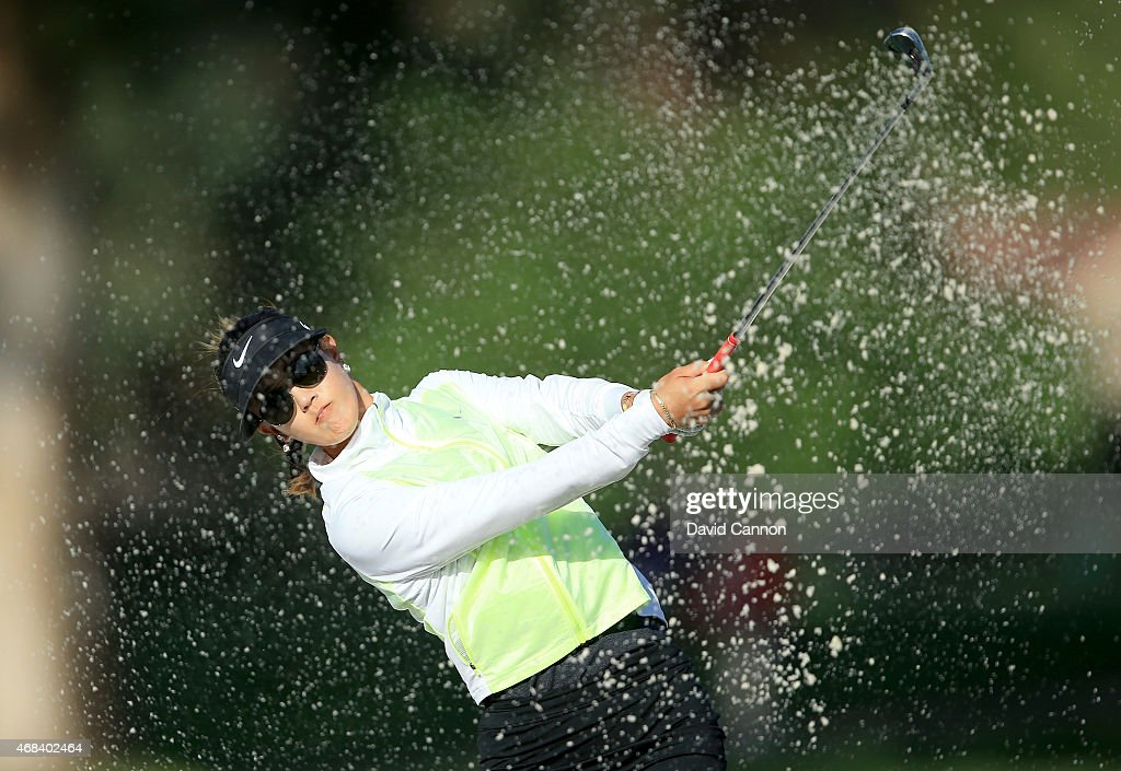 Michelle Wie of the USA plays her second shot on the 12th hole during the first round of the ANA Inspiration on the Dinah Shore Tournament Course at Mission Hills Country Club on April 2, 2015 in Rancho Mirage, California.