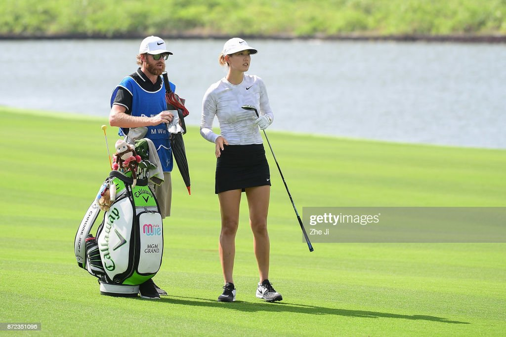Michelle Wie of United States plays a shot on the 18th hole during the third round of the Blue Bay LPGA at Jian Lake Blue Bay golf course on November 10, 2017 in Hainan Island, China.