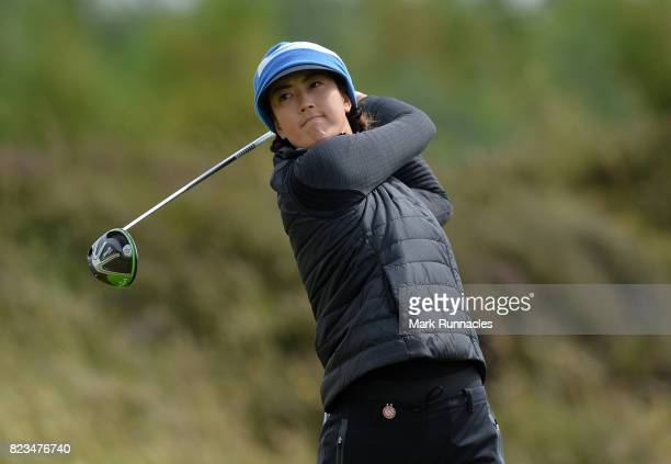 Michelle Wie of USA plays her tee shot to the 2nd hole during the first day of the Aberdeen Asset Management Ladies Scottish Open at Dundonald Links...