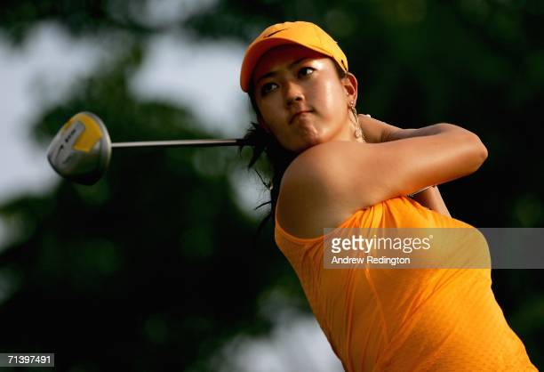 Michelle Wie of USA tees off on the fifth hole during the third round of the HSBC Women's World Match Play Championship on July 8 2006 at Hamilton...