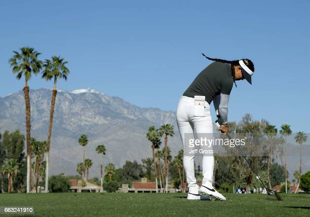 Michelle Wie plays her tee shot on the fifth hole during the completion of the second round of the ANA Inspiration at the Dinah Shore Tournament...