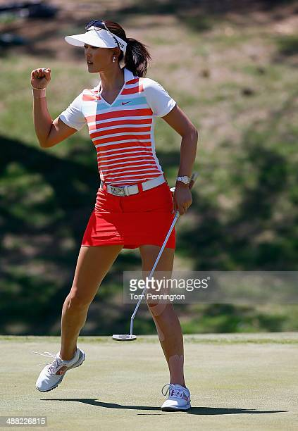 Michelle Wie reacts after sinking a birdie putt on the 12th hole during the Final Round of the North Texas LPGA Shootout Presented by JTBC at the Las...