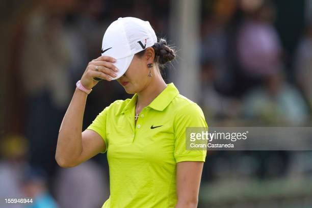 Michelle Wie reacts on the green during round two of the LPGA Lorena Ochoa Invitational presented by Banamex and Jalisco at Guadalaraja Country Club...