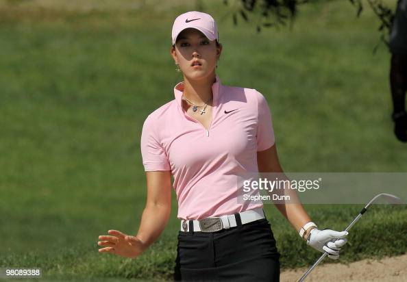 Michelle Wie reacts to her bunker shot on the third hole during the third round of the Kia Classic Presented by J Golf at La Costa Resort and Spa on...