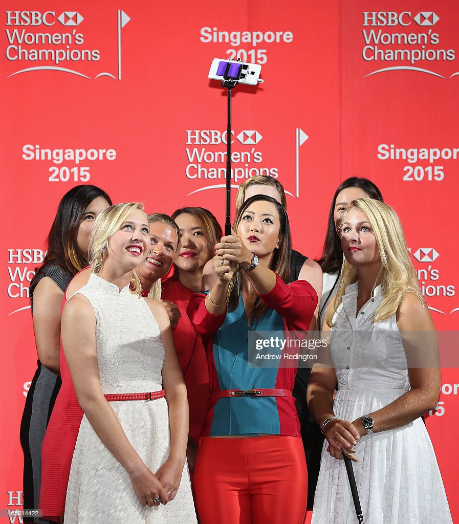 <a gi-track='captionPersonalityLinkClicked' href=/galleries/search?phrase=Michelle+Wie&family=editorial&specificpeople=201982 ng-click='$event.stopPropagation()'>Michelle Wie</a> (C) takes a selfie with <a gi-track='captionPersonalityLinkClicked' href=/galleries/search?phrase=Jessica+Korda&family=editorial&specificpeople=5410628 ng-click='$event.stopPropagation()'>Jessica Korda</a>, <a gi-track='captionPersonalityLinkClicked' href=/galleries/search?phrase=Inbee+Park&family=editorial&specificpeople=4532692 ng-click='$event.stopPropagation()'>Inbee Park</a>, <a gi-track='captionPersonalityLinkClicked' href=/galleries/search?phrase=Suzann+Pettersen&family=editorial&specificpeople=218091 ng-click='$event.stopPropagation()'>Suzann Pettersen</a>, <a gi-track='captionPersonalityLinkClicked' href=/galleries/search?phrase=Lydia+Ko&family=editorial&specificpeople=5817103 ng-click='$event.stopPropagation()'>Lydia Ko</a>, <a gi-track='captionPersonalityLinkClicked' href=/galleries/search?phrase=Paula+Creamer&family=editorial&specificpeople=209411 ng-click='$event.stopPropagation()'>Paula Creamer</a>, <a gi-track='captionPersonalityLinkClicked' href=/galleries/search?phrase=Chella+Choi&family=editorial&specificpeople=5770500 ng-click='$event.stopPropagation()'>Chella Choi</a> and <a gi-track='captionPersonalityLinkClicked' href=/galleries/search?phrase=Anna+Nordqvist&family=editorial&specificpeople=2259645 ng-click='$event.stopPropagation()'>Anna Nordqvist</a> during the launch event at the Fairmont Hotel prior to the start of the HSBC Women's Championson March 3, 2015 in Singapore, Singapore.