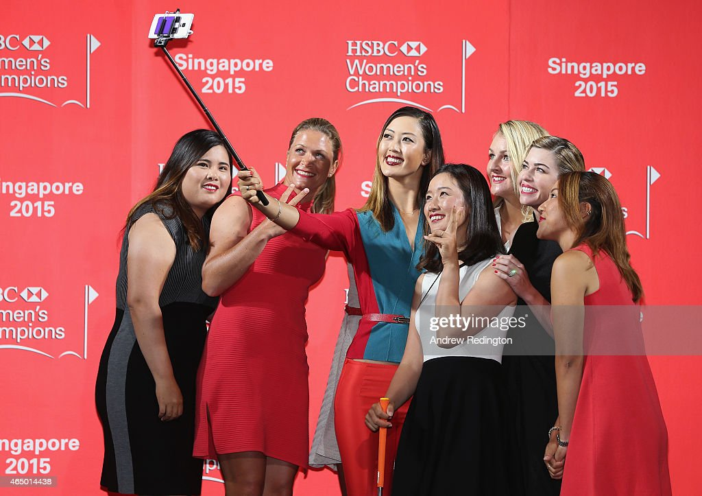 Michelle Wie takes a selfie with Jessica Korda Inbee Park Suzann Pettersen Lydia Ko Paula Creamer Chella Choi and Anna Nordqvist during the launch...