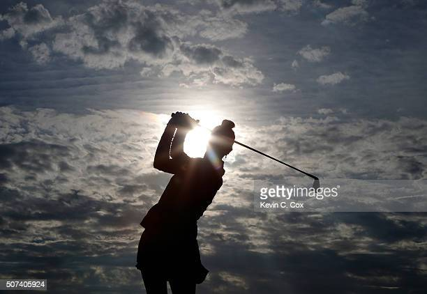 Michelle Wie tees off the first hole during the second round of the Pure Silk Bahamas LPGA Classic at the Ocean Club Golf Course on January 29 2016...