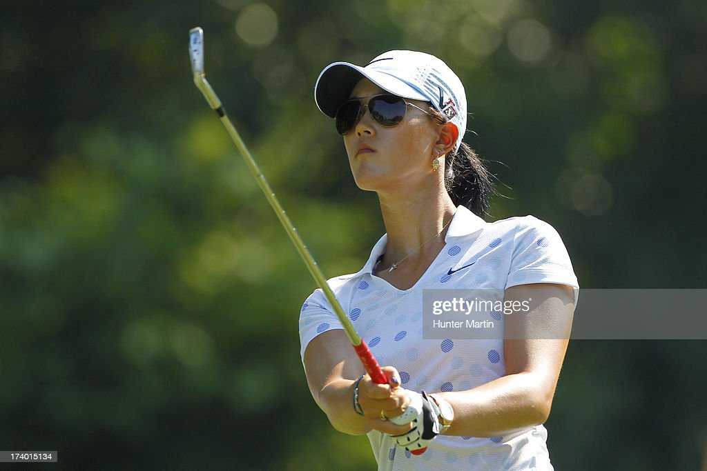 Michelle Wie watches her tee shot on the eighth hole during round two of the Marathon Classic presented by Owens Corning & O-I on July 19, 2013 in Sylvania, Ohio.