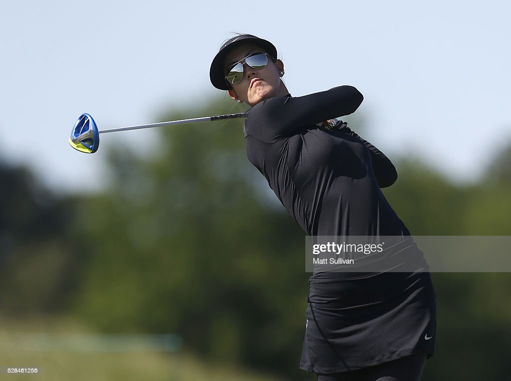 <a gi-track='captionPersonalityLinkClicked' href=/galleries/search?phrase=Michelle+Wie&family=editorial&specificpeople=201982 ng-click='$event.stopPropagation()'>Michelle Wie</a> watches her tee shot on the third hole during the Yokohama Tire Classic on May 05, 2016 in Prattville, Alabama.