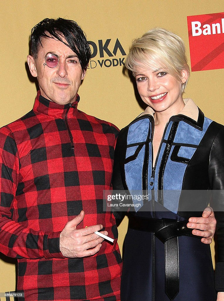 Michelle Williams and <a gi-track='captionPersonalityLinkClicked' href=/galleries/search?phrase=Alan+Cumming&family=editorial&specificpeople=202521 ng-click='$event.stopPropagation()'>Alan Cumming</a> attend the Broadway opening night of 'Cabaret' at Studio 54 on April 24, 2014 in New York City.