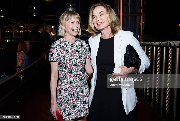 Michelle Williams and Jessica Lange attend Tony Awards 2016 Luncheon at Diamond Horseshoe on May 19 2016 in New York City