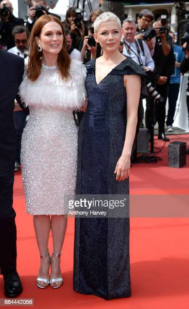Michelle Williams and Julianne Moore attend the 'Wonderstruck ' screening during the 70th annual Cannes Film Festival at Palais des Festivals on May...