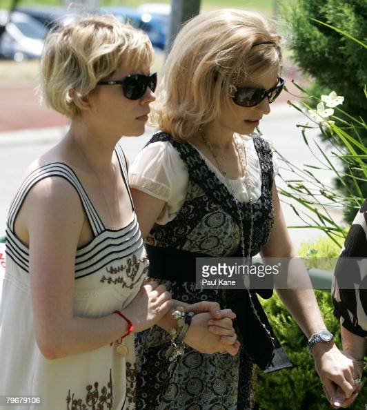 Michelle Williams and Kate Ledger arrive at the Memorial Service for Heath Ledger at Penrhos College on February 9 2008 in Como Australia The late...