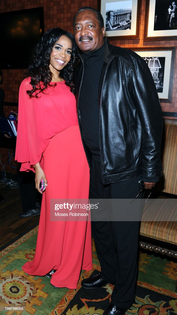Michelle Williams and Mathew Knowles attend the 28th Annual Stellar Awards Backstage at Grand Ole Opry House on January 19, 2013 in Nashville, Tennessee.