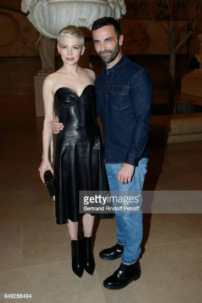 Michelle Williams and Stylist Nicolas Ghesquiere pose after the Louis Vuitton show as part of the Paris Fashion Week Womenswear Fall/Winter 2017/2018...