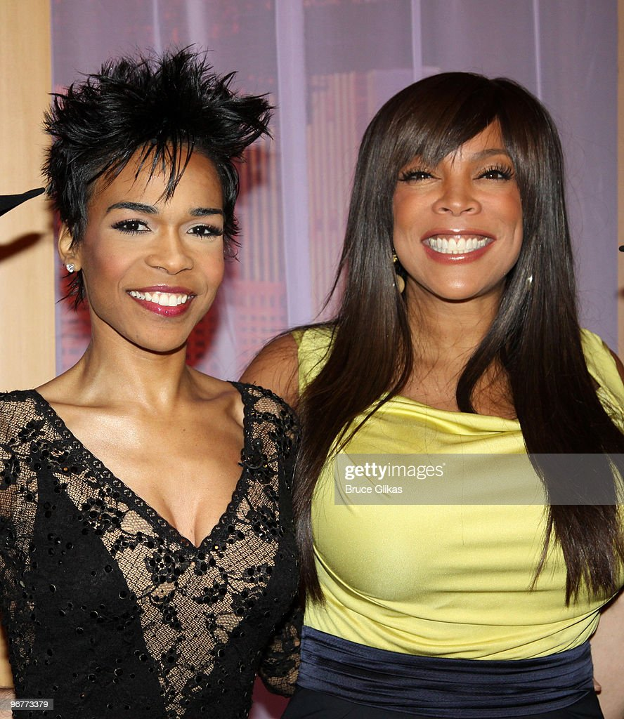 Michelle Williams and Wendy Williams pose on the set of 'The Wendy Williams Show' on February 16 2010 in New York City