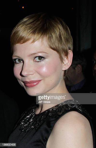 Michelle Williams attends a the party hosted by the Weinstein Company and Audi to celebrate awards season at Chateau Marmont on January 11 2012 in...